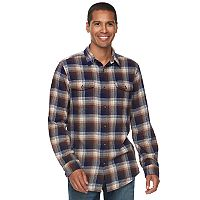 Big & Tall SONOMA Goods for Life™ Slim-Fit Plaid Stretch Flannel Button-Down Shirt