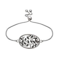 Brilliance Silver Plated Marcasite Vine Bolo Bracelet