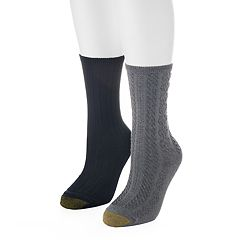 Women's GOLDTOE 2 pkRibbed & Cable-Knit Crew Socks