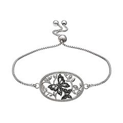 Brilliance Silver Plated Marcasite Butterfly Bolo Bracelet