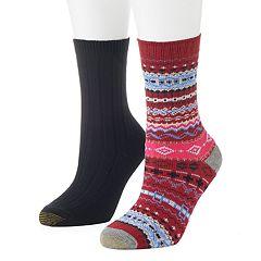 Women's GOLDTOE 2 pkFairisle Ribbed Crew Socks