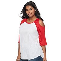 Juniors' Plus Size SO® Print Cold-Shoulder Tee