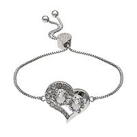 Brilliance Silver Plated Heart Bolo Bracelet with Swarovski Crystals