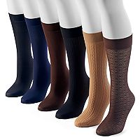 Women's Apt. 9® 6 pkAssorted Cable Knit Trouser Socks