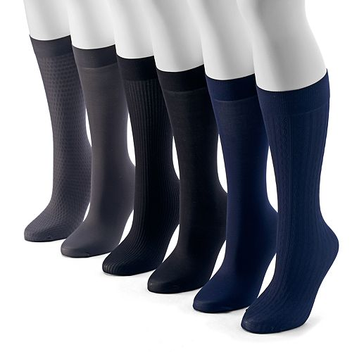 Women's Apt. 9® 6-pk. Assorted Cable Knit Trouser Socks