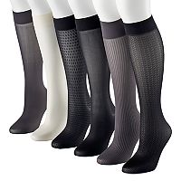 Women's Apt. 9® 6-pk. Assorted Herringbone Knit Trouser Socks