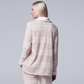 Women's Simply Vera Vera Wang Pajamas: Plush Party Fleece Long Sleeve Wrap