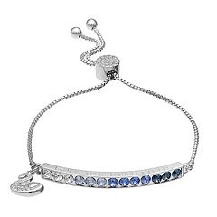 Brilliance Silver Plated 'You are Beautiful' Bolo Bracelet with Swarovski Crystals
