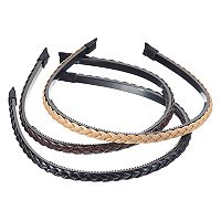 Faux Leather Braided Headband Set