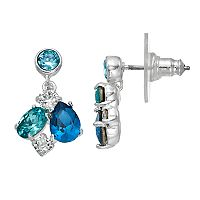 Brilliance Silver Plated Blue Cluster Drop Earrings with Swarovski Crystals