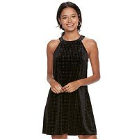 Juniors' Candie's Velvet Embellished Halter Dress