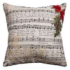 Rizzy Home ''Joy To The World'' Music Notes Throw Pillow