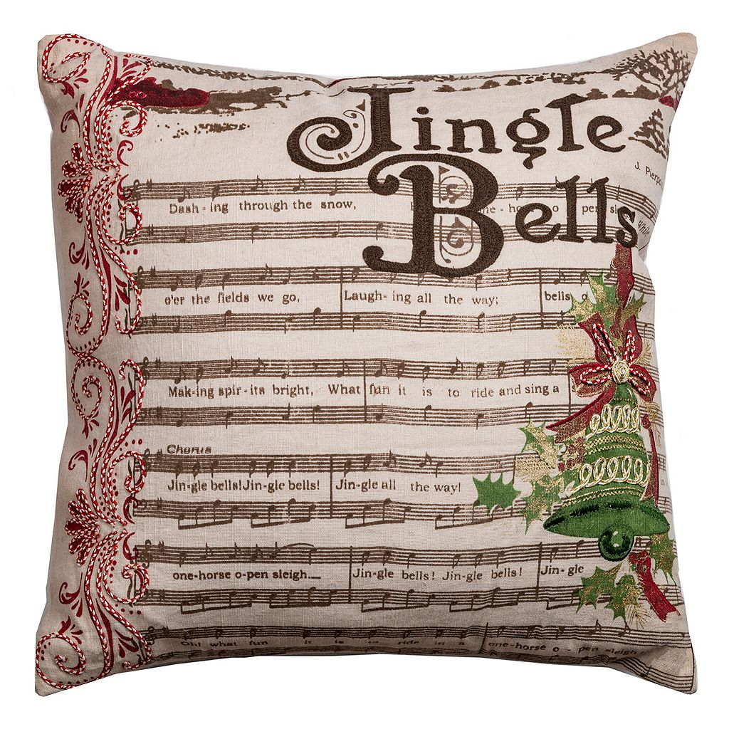 Rizzy Home ''Jingle Bells'' Music Notes Throw Pillow