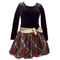 Girls 7-16 Bonnie Jean Plaid Dropwaist Velvet Dress