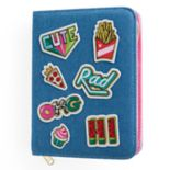 Embroidered Patches Denim Zip-Around Journal