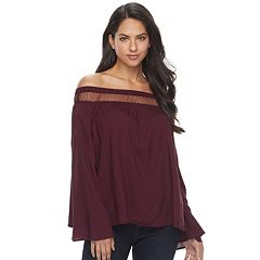 Women's Rock & Republic® Mesh Off-the-Shoulder Top
