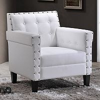 Baxton Studio Odella Tufted Faux-Leather Arm Chair