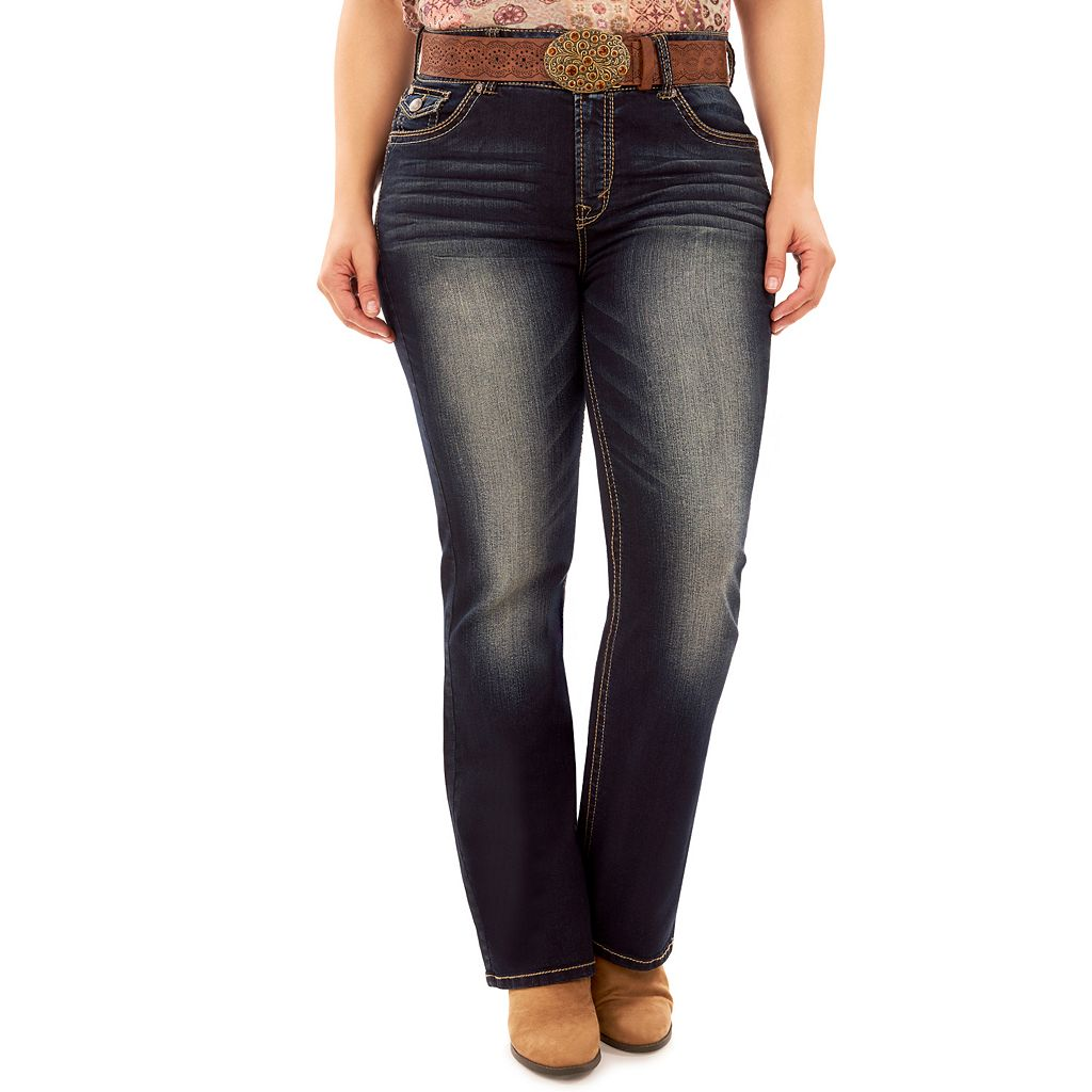 Juniors' Plus Size Wallflower Legendary Faded Bootcut Jeans