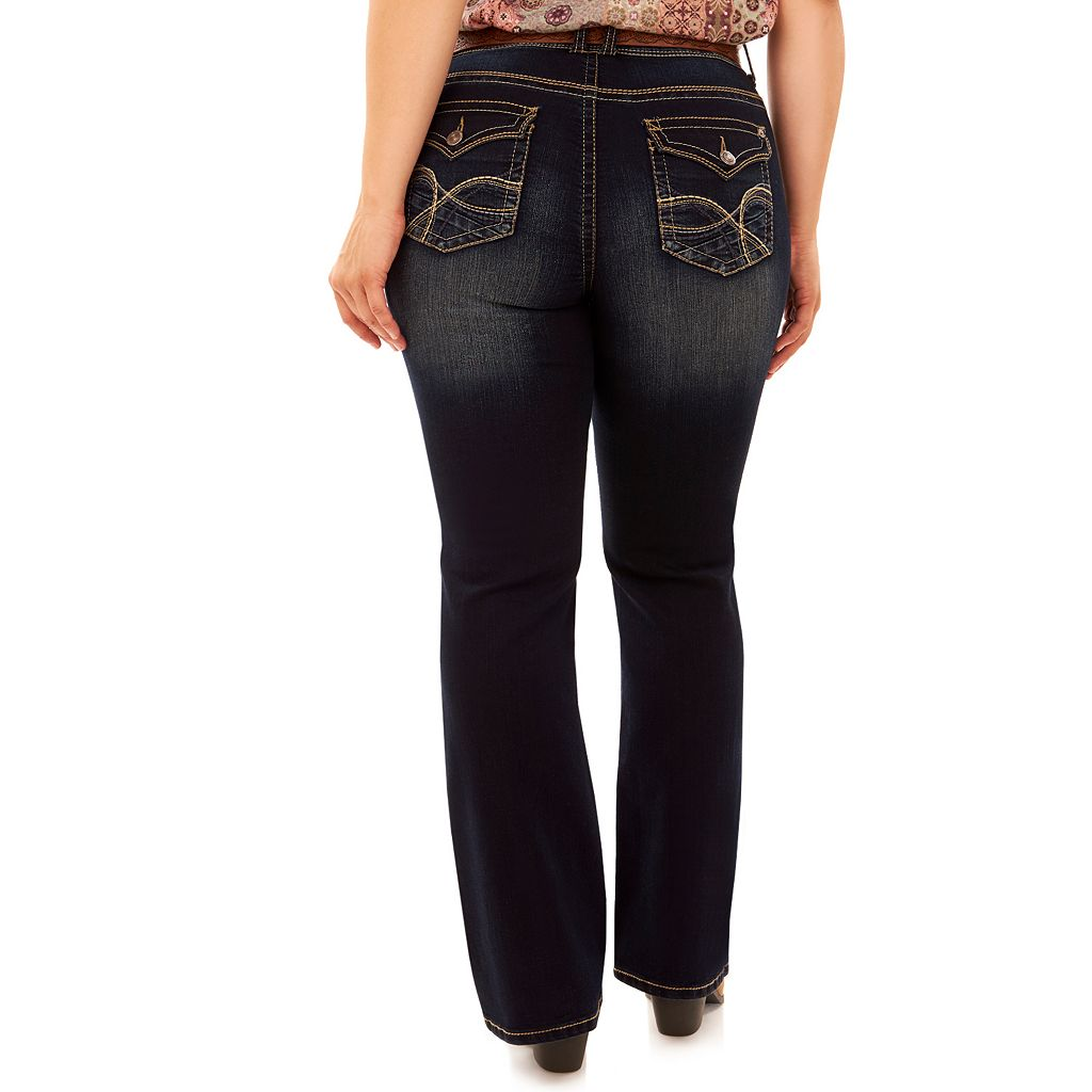 Juniors' Plus Size Wallflower Legendary Faded Bootcut Jeans