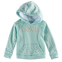 Toddler Girl Jumping Beans® Hooded Glittery Heart Fleece Pullover
