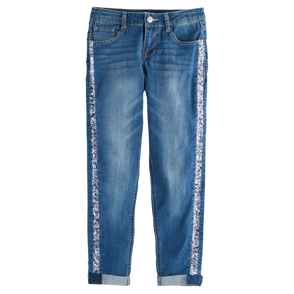Girls 7-16 & Plus Size SO® Sequin Girlfriend Jeans