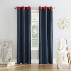 Sun Zero Blackout 1-Panel Fleece Lined Reversible Campus Window Curtain