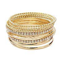 Plus Size Hammered & Twisted Simulated Crystal Bangle Bracelet Set