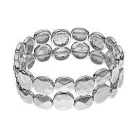Plus Size Hammered Disc Double Strand Stretch Bracelet