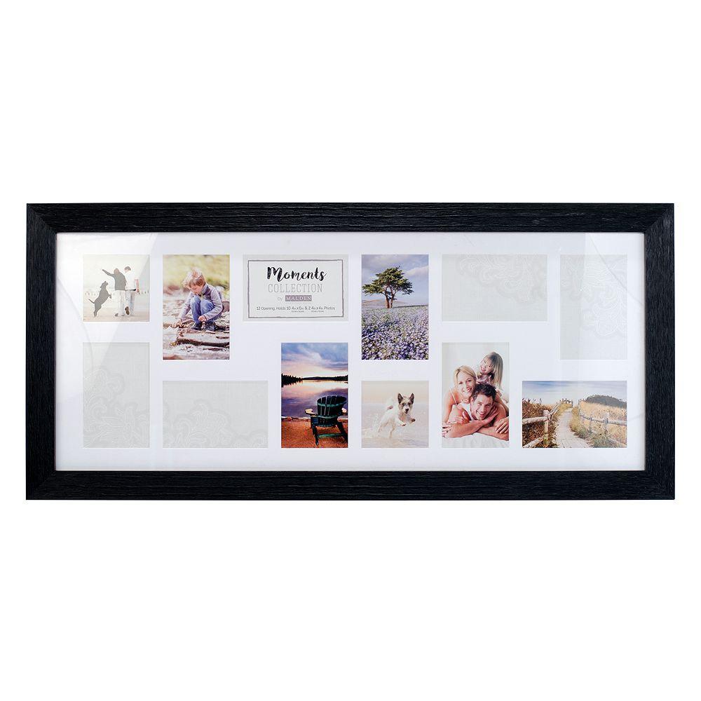 Malden 12-Opening Distressed Black Collage Frame