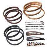 Animal Print Hair Tie, Bobby Pin & Barrette Set