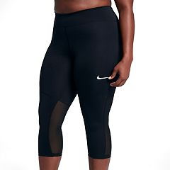 Plus Size Nike Power Fly Mesh Capri Leggings