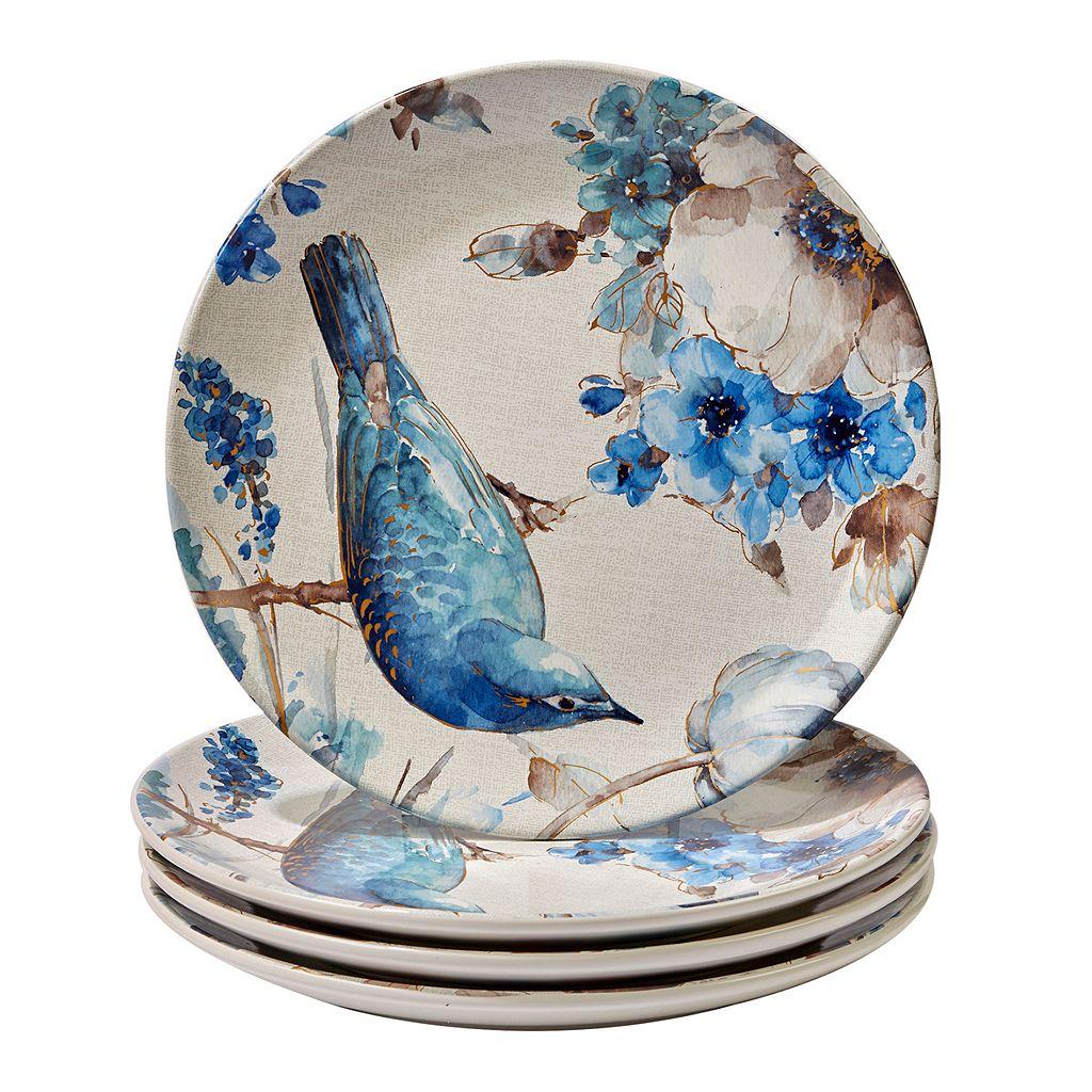 Certified International Indigold Bird 4-pc. Dinner Plate Set