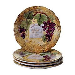 Certified International Gilded Wine 4 pc Dinner Plate Set