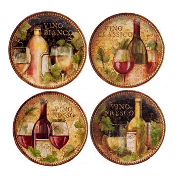 Certified International Gilded Wine 4-pc. Salad Plate Set