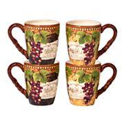 Certified International Gilded Wine 4 pc Mug Set