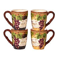 Certified International Gilded Wine 4 pc Mug Set