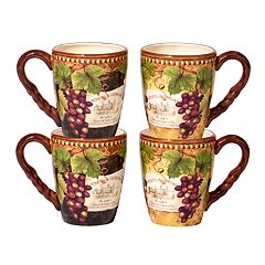 Certified International Gilded Wine 4-pc. Mug Set