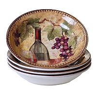 Certified International Gilded Wine 4 pc Pasta Bowl Set..
