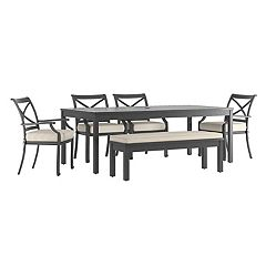 HomeVance Borego Patio Dining Table, Bench & Chair 6 pc Set