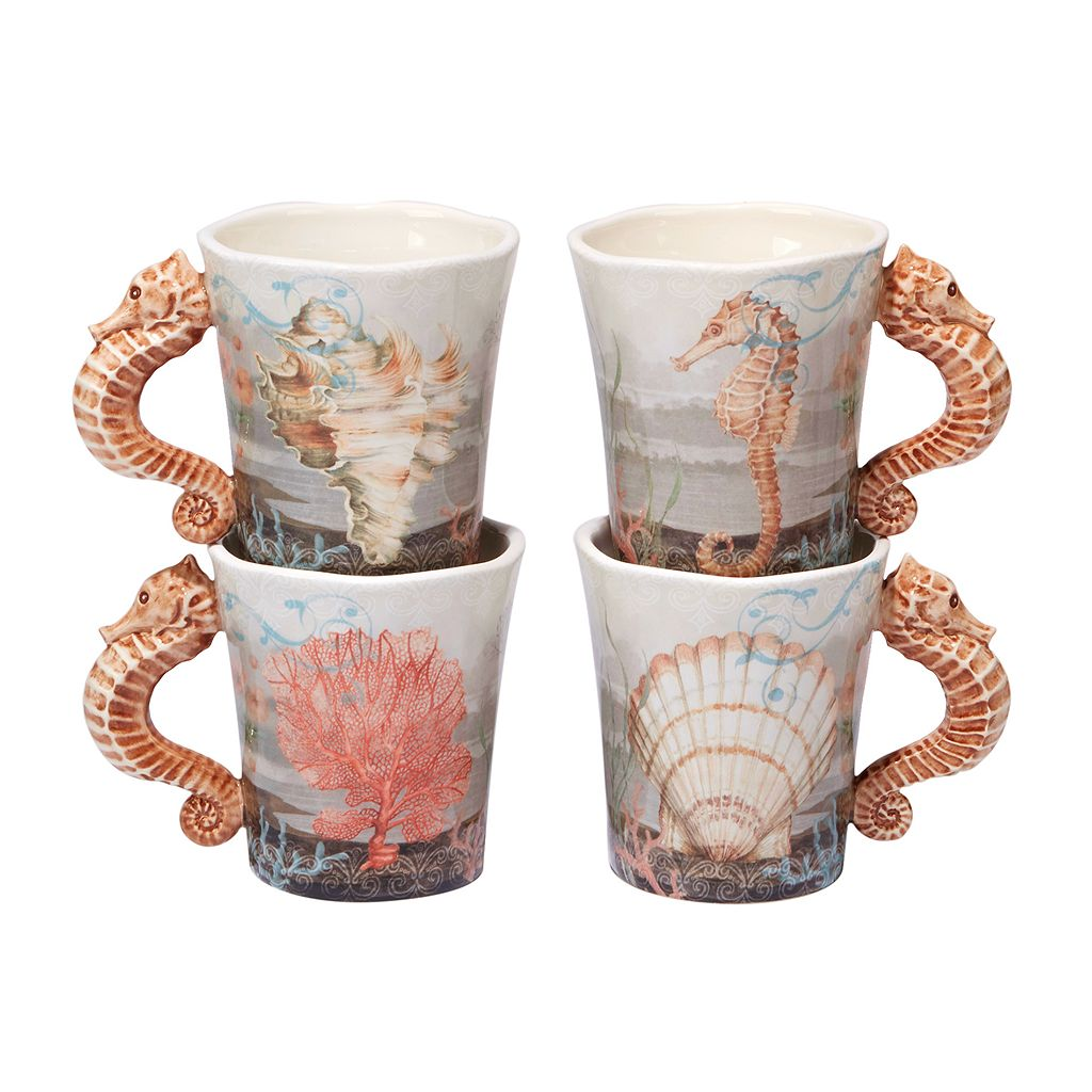 Certified International Coastal View 4-pc. Mug Set