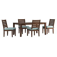 HomeVance Glen View Brown Patio Dining Table & Armless Chair 5 pc Set