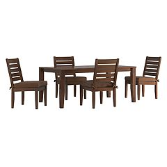 HomeVance Glen View Brown Patio Dining Table & Armless Chair 5-piece Set