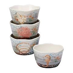 Certified International Coastal View 4 pc Ice Cream Bowl Set