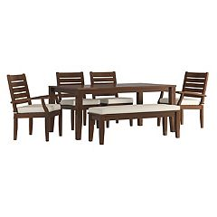 HomeVance Glen View Brown Patio Dining Table, Bench & Chair 6 pc Set