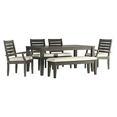 HomeVance Glen View Patio Dining Table, Bench & Chair 6 pc Set