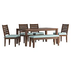 HomeVance Glen View Brown Patio Dining Table, Bench & Armless Chair 6-piece Set