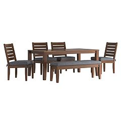 HomeVance Glen View Brown Patio Dining Table, Bench & Armless Chair 6 pc Set