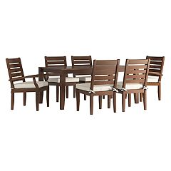 HomeVance Glen View Brown Patio Dining Table & Chair 7 pc Set