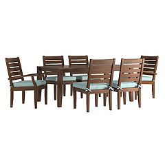 HomeVance Glen View Brown Patio Dining Table & Chair 7-piece Set
