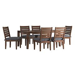 HomeVance Glen View Brown Patio Dining Table & Armless Chair 7 pc Set